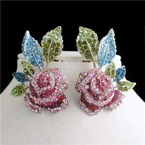 Lush Rose Necklace Earring Set Multi Swarovski Crystal Flower Floral