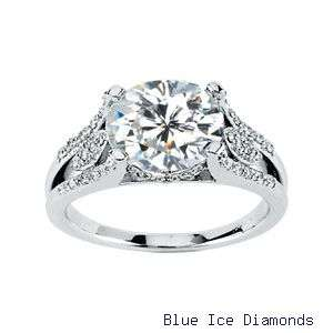 Created Moissanite Engagement Ring 3.20 Ct tw With Diamonds