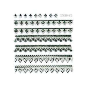 Iridescent Glitter Floral Trim Strip Nail Stickers/Decals