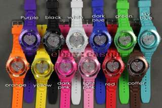 PCS lot top brand 13 colors ice LOVE HEART watch fashion jelly watch