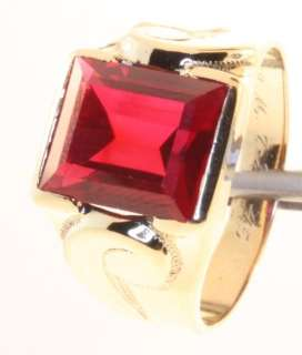 mens synthetic ruby ring estate vintage fashion antique gents