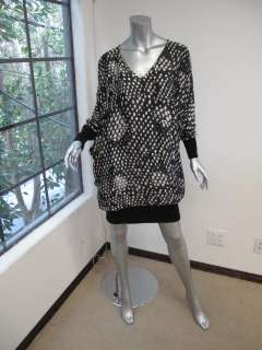 McCartney Black/White Printed Long Sleeve Knit Bottom Dress 44