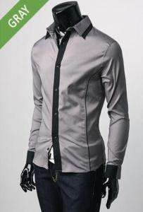 Mens Gentleman Luxury Stylish Front Stripe Dress Shirt