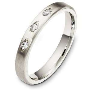 Designer 18 Karat White Gold Diamond Wedding Band Ring   6.25 Jewelry