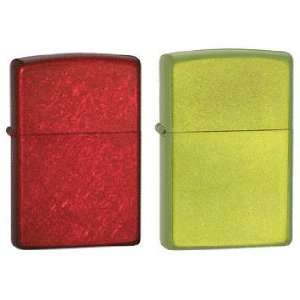 Zippo Lighter Set   Lurid Green and Candy Apple Red, Pack