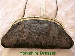Gold Bronze Black Embellished LEYLA Evening Pleated Clutch Bag