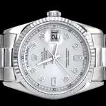 Mens Rolex Day Date President 18kt. White Gold Diamond Dial Fluted