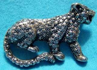Fine Sterling Silver Artisan Jaguar Leopard Cat Pin