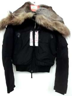 PARAJUMPERS GOBI DOWN BOMBER JACKET MURMANSKY FUR BLACK AUTHENTIC