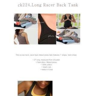 JY Womens Long Racer Back Tank Short T shirt Tops ck224