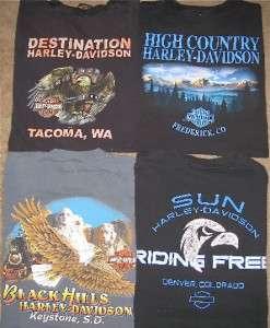 HARLEY DAVIDSON Denver Tacoma Black Hills So. Dakota 4 T Shirt Lot