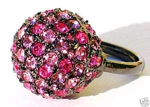 SALE KENNETH JAY LANE PINK DISCO BALL CRYSTAL RING