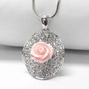 Pink Rose on Crystal Lillypad Pendant White Gold Plated