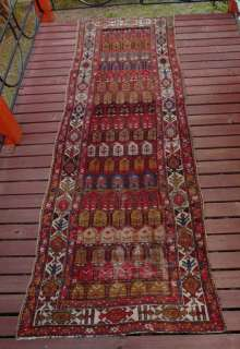 SUPERB ANTIQUE PERSIAN HAMADAN KURD PILE RUNNER C1910