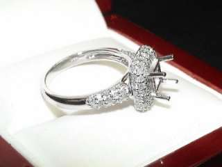 SQUARE 14k WHITE GOLD .85ct DIAMOND RING SETTING MOUNT