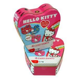 Sanrio Hello Kitty 4 Card Game in Heart Shape Tin Box Toys & Games