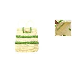 Women Green Stripe Beige Straw Backpack Bag Knapsack