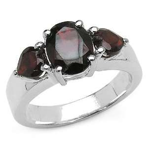 3.50 Carat Genuine Garnet Sterling Silver Ring Jewelry