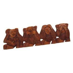 NO EVIL Monkeys Wall Hanging See Hear Speak Do: Home & Kitchen