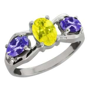 85 Ct Oval Canary Mystic Topaz and Blue Tanzanite Sterling Silver Ring