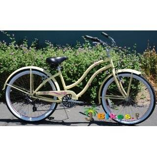 26 Beach Cruiser Bicycle GiGi Shimano 7 Speed Womens Bike Vanilla