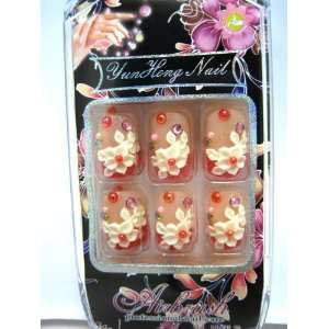 3D Nails   Set of 24 Artistic Natural looking Pre glued Nail