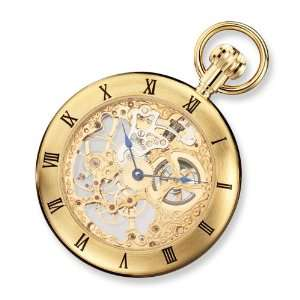 Hubert Gold plated Stainless Open Face Skeleton Pocket Watch Jewelry