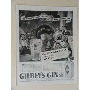 Gilbeys Gin. Vintage 30s full page print ad. (the Chamberlain
