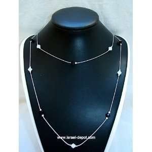 Jet White Opal Crystal 925 Silver Chain Necklace