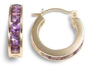 14k Yellow Gold Channel Set Amethyst Hoop Earrings Jewelry