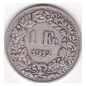 1912 Switzerland 1 Franc Coin   Silver Content 83,5%