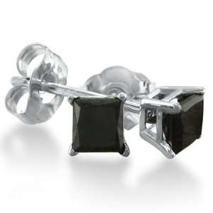 14K White Gold Princess Cut Black Diamond Earrings .90 ct