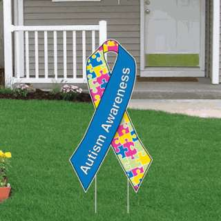 Autism Awareness Ribbon Yard Sign, 21 x 39 w/stakes