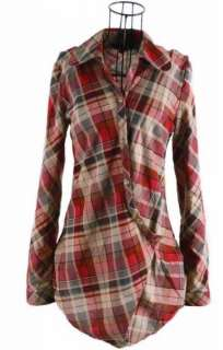 Girls Womens Casual Plaid Lapel Short / Long Sleeve T Shirt TOP Tops