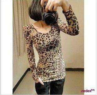 Sexy Leopard Prints Long Sleeve Tops Slim T Shirt Blouses Bottoming