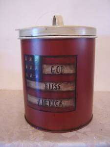 GOD BLESS AMERICA PATRIOTIC FLAG METAL CONTAINER