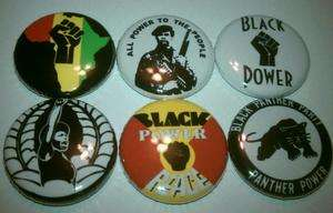 6x Black Panther Party power to the people peace Buttons Badges shirt
