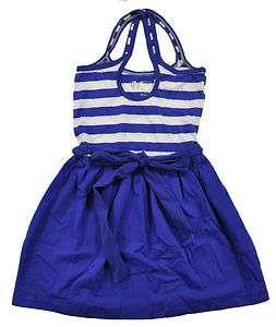 Dream Star Girls Royal Blue & White Sun Dress W/Bow Size 4 5 6 6X $27