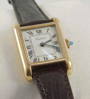 Estate Cartier Ladies Tank Watch 18k Electroplated Gold w/ Sapphire