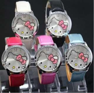 Lovely helloKitty 6 Crystal Girls Quartz Wrist Watch KT cat watches