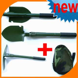 Green Military Camping Survival Folding Shovel Pick NEW