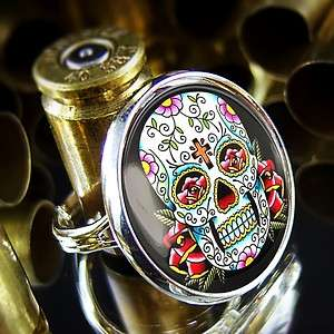 Dia De Los Muertos Day of the Dead Tattoo Goth Punk Sterling Silver