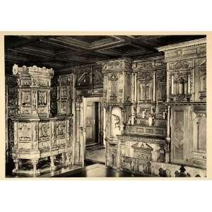 1938 Wulflingen Castle Knights Hall Room Switzerland   Original