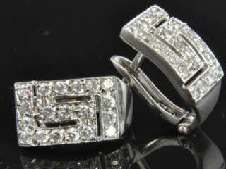 White Gold Diamond Pave Greek Key French Clip Huggie Earrings