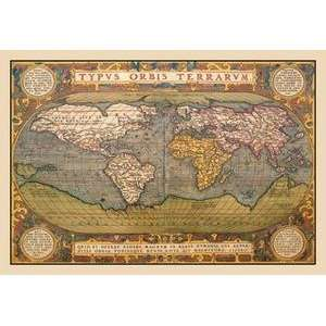 Vintage Art World Map   09043 x