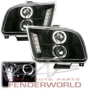 FORD MUSTANG 05 08 HALO PROJECTOR LED BLACK HEADLIGHTS Automotive