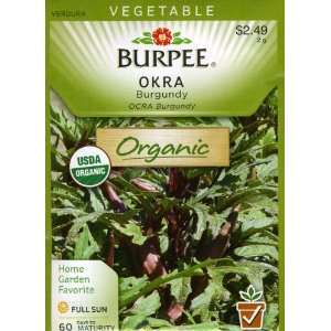 Burpee 68455 Organic Okra Burgundy Seed Packet Patio
