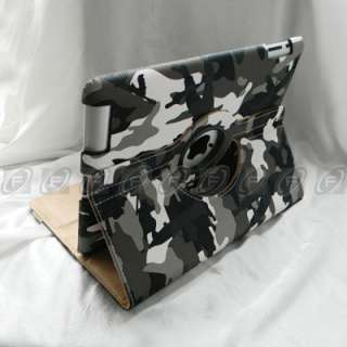 iPad 2 Camouflage Style 360° Rotating Leather Smart Cover Case with