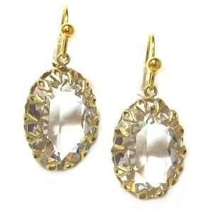Catherine Popesco 14K Gold Plated Large Encased Oval Swarovski Crystal
