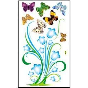 Blue Flowers Plant and Butterflies Peel and Stick Wall Sticker and